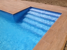Private pool wood imitation