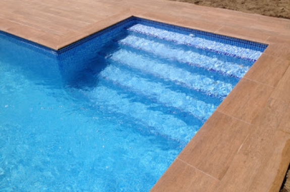 Private pool wood imitation